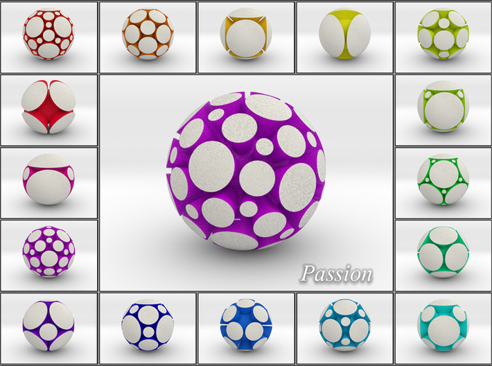 LuminOrb 1.6 - PASSION 3d printed Shapeways Render of PASSION among LuminOrb Series I and II