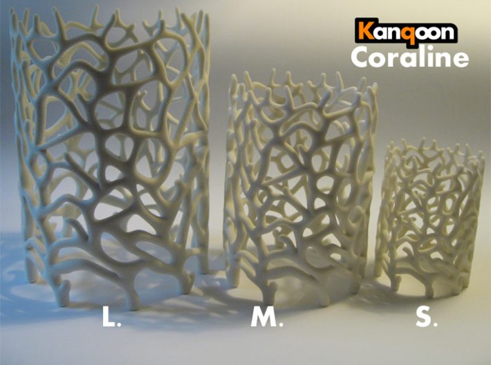Coraline S. Tealight White Sandstone 3d printed Other Sizes:    Coraline S. / Coraline M. / Coraline L.     printed in Sandstone