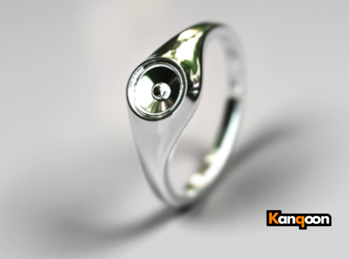 Liza - Ring - US 6¾ - 17.12mm 3d printed Premium Silver PREVIEW
