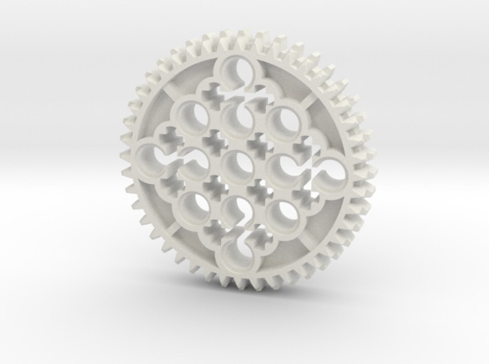 LEGO®-compatible 44-tooth bevel gear w/ pinhole R2 3d printed