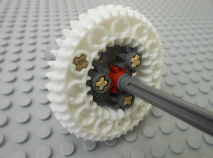 LEGO®-compatible z44 bevel gear w/ z24 inner ring 3d printed epicyclic gearing