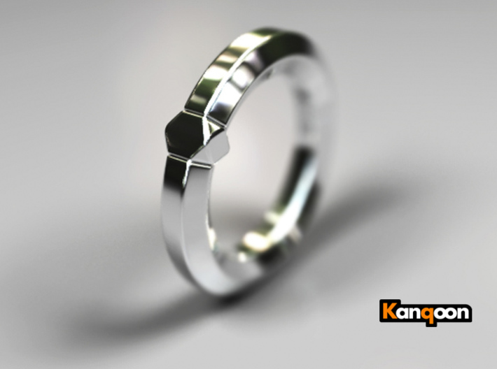 Hea - Ring - US 6¾ - 17.12 mm 3d printed Polished Silver PREVIEW