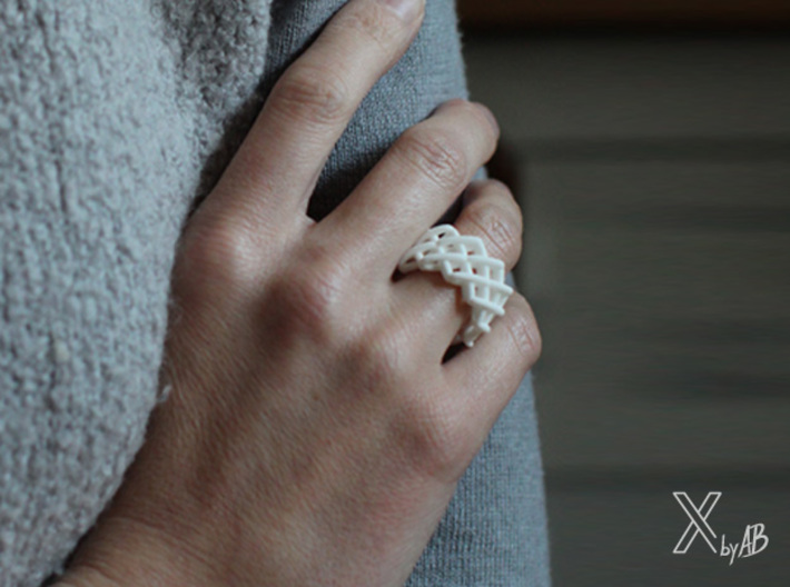 Cross-Stitches Ring 8.7 3d printed Cross-Stitches Ring white