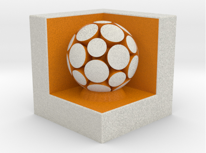 LuminOrb 1.4 - Cube Stand 3d printed Shapeways render of Cube Display Stand with NURTURE in Full Color Sandstone