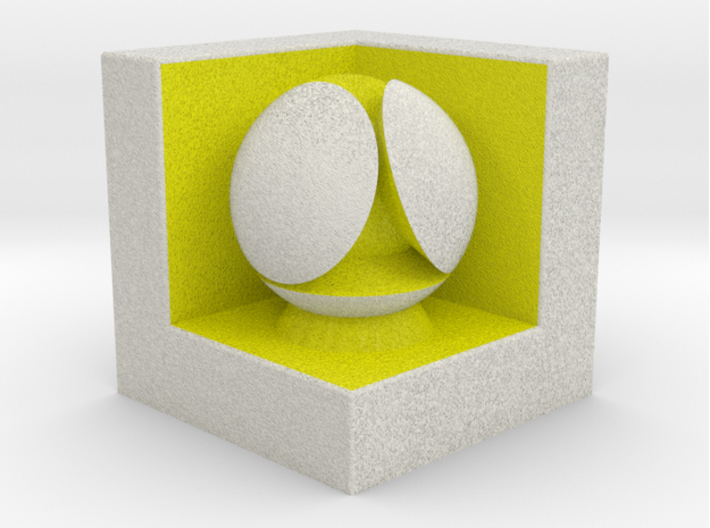 LuminOrb 1.7 - Cube Stand 3d printed Shapeways render of Cube Display Stand with PATIENCE in Full Color Sandstone