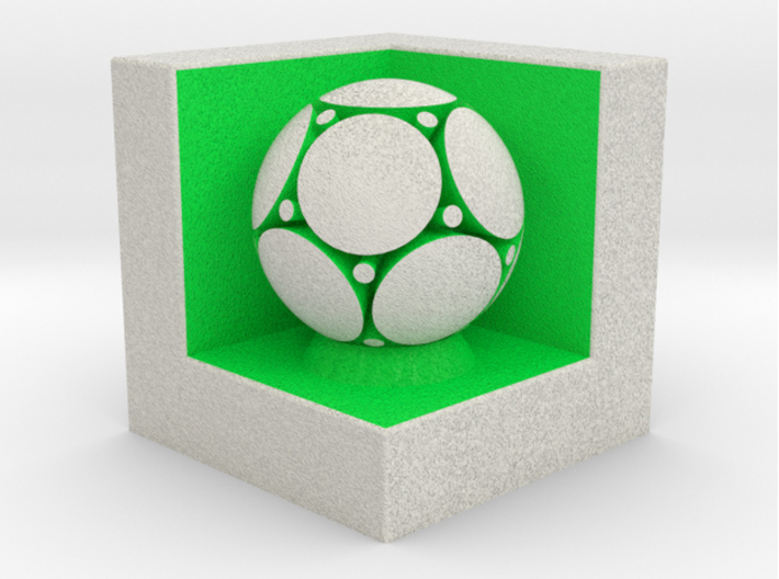 LuminOrb 2.2 - Cube Stand 3d printed Shapeways render of Cube Display Stand with PEACE in Full Color Sandstone