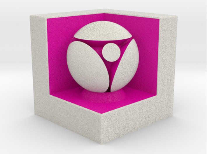 LuminOrb 2.6 - Cube Stand 3d printed Shapeways render of Cube Display Stand with ACCEPTANCE in Full Color Sandstone