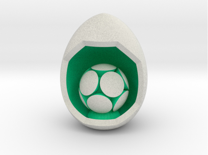LuminOrb 1.5 - Egg Stand 3d printed Shapeways render of Egg Display Stand with KINDNESS in Full Color Sandstone