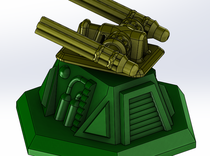 Turret Base 3d printed Shown with Minigun Top - See other models