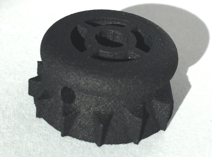 Bottlecap Tone Knob - 6MM 3d printed Printed in Black Strong & Flexible.