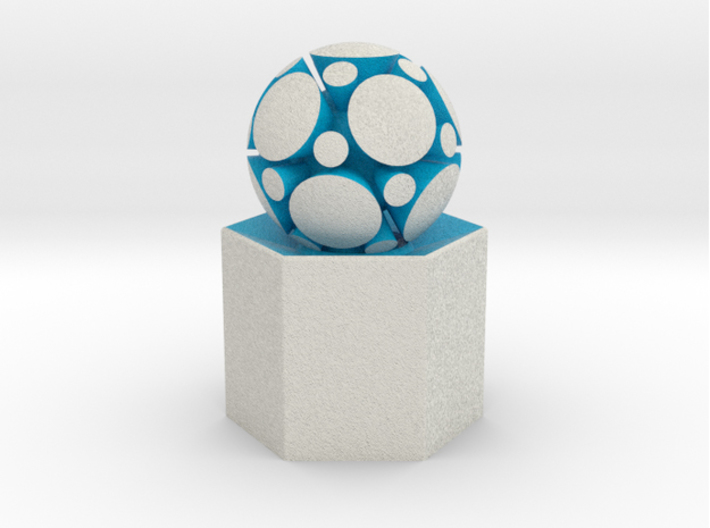 LuminOrb 1.8 - Column Stand 3d printed Shapeways render of Column Display Stand with MINDFULNESS in Full Color Sandstone