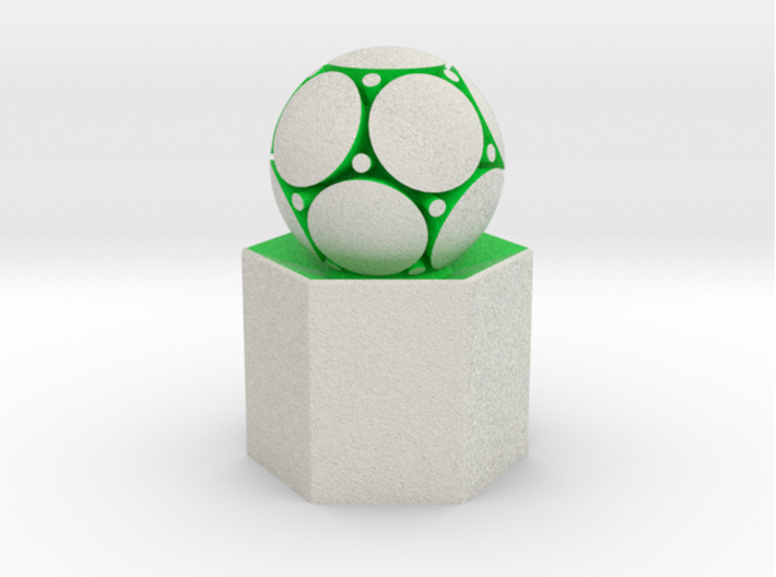 LuminOrb 2.2 - Column Stand 3d printed Shapeways render of Column Display Stand with PEACE in Full Color Sandstone