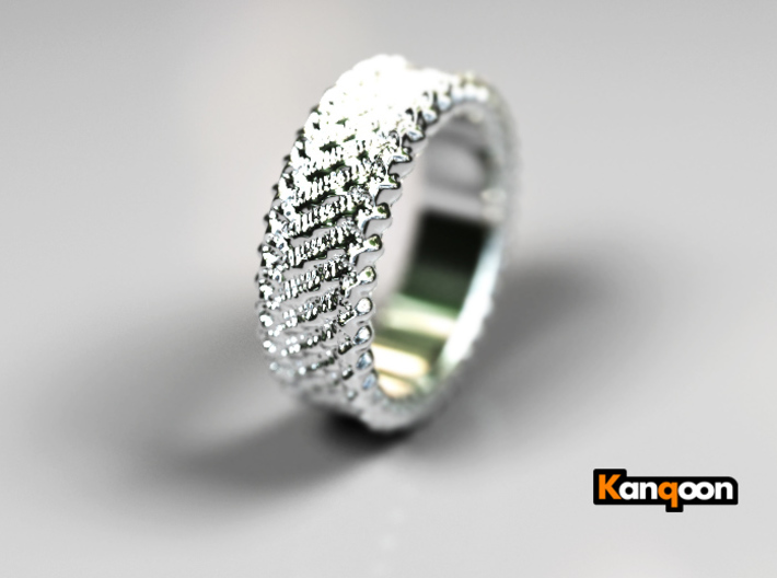 Elisa - Ring - US 6¾ - 17.12mm 3d printed Polished Silver PREVIEW