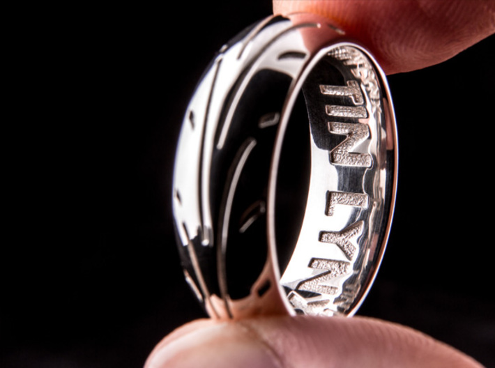 Motorcycle Tire Ring 3d printed Premium Silver