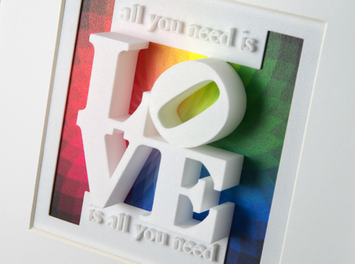 """Love Is All You Need 3d printed """"Love"""" in a standard 13 x 13 cm picture frame"""