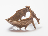 (Size 5) Moose Antler Ring  3d printed Polished Bronze Steel