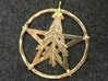 Oak Leaf Pentacle Pendant 3d printed Oak leaf pentacle pendant in raw brass. This came out so shiny that I don't think polished brass would look much better!