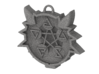 Two Sided Wolf Head Medallion Pendant 3d printed Cast Stainless Steel Back