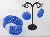 Flowers Earrings 3d printed Printed in Blue Strong & Flexible Polished Plastic with Cuff