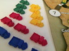 Trains (6 pcs) 3d printed Polished Strong Flexible (blue, red, yellow, green). Pic courtesy of David Thompson