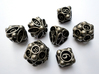 Spore Dice Set with Decader 3d printed In stainless steel and inked.