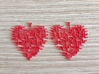 Heart Earrings 3d printed Red Strong and Flexible Polished