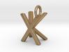 Two way letter pendant - KX XK 3d printed