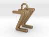 Two way letter pendant - WZ ZW 3d printed