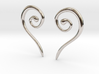 Medieval Half Heart pair of earrings 3d printed Medieval Half Heart earrings rhodium