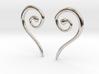 Medieval Half Heart pair of earrings 3d printed Medieval Half Heart earrings rhodium