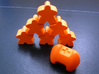 Three sided fudge die 3d printed Orange meeple display team not included.