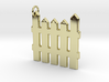 White Picket Fence Keychain 3d printed 18k Gold Plated Fence