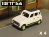 Renault 4 Hatchback 1:120 scale (Lot of 4 cars) 3d printed