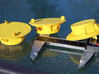 LISA spacecraft, 1/58 scale 3d printed LISA spacecraft model (v. 1, in yellow strong & flexible material) from various perspectives