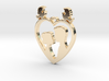 Two in a Heart with Doves V1 Pendant - Amour 3d printed