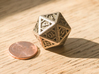 Icosahedron D20 3d printed Size of the die compared to a standard penny.