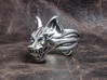 "Fox (Oinari san) ""orb"" Ring 3d printed This material is Polished Silver , Patinated with bleach"