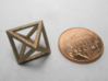 Faceted Minimal Octahedron Frame Pendant Small 3d printed Coin scale.