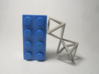 Faceted Twin Octahedron Frame Pendant Small 3d printed Brick scale.