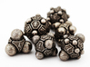 Nucleus D6 3d printed The complete Nucleii Dice Set in Stainless Steel
