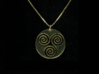"""Triskele (1.25"""" diameter) 3d printed Shown in Gold Plated Brass (chain not included)"""