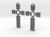 Quilted Sq Earrings Cross 3d printed