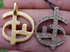 Zoran's Equation Pendant 3d printed Gold plated Matte & Stainless Steel