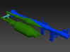 RPG launcher 1:16 scale with rockets 3d printed