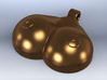 Breasts-shaped hollow keychain/pendant/aromapendan 3d printed 3D render bronze