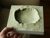 6'' Meteor Crater, Arizona, USA, Sandstone 3d printed Meteor Crater model in full color, North is up