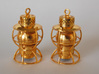 Dressel Lamp Earrings or charms 3d printed Gold Plated Brass