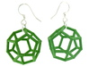 Dodecahedron Earrings, clean style 3d printed Earrings printed in Green Strong and Flexible, with earwires added