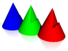 Cones, RGB - The Three Tenors 10.75 x 4in 3d printed