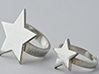 Silver Star Ring (size L) 3d printed Ring on Left